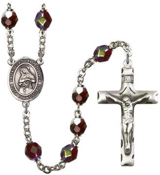 Divina Bonyak Jewelry Rosary Collection -Plated Rosary 7mm January Red Lock Link Aurora Borealis Beads, Crucifix Size 1 3/4 x 1. Virgen de la Providencia medal charm