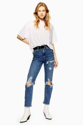 Topshop Mid Blue Destroy Rip Straight Leg Jeans