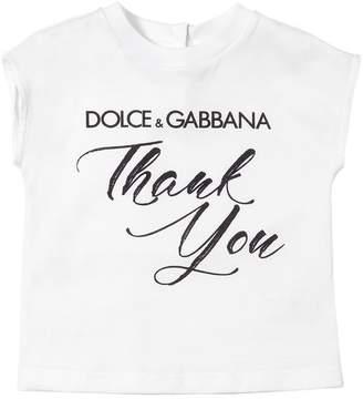 Dolce & Gabbana Thank You Print Cotton Jersey T-Shirt