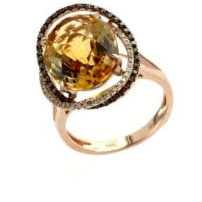 Effy Apricot Rose 14Kt. Rose Gold and Citrine Ring with Diamond Accents