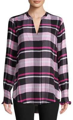 Lord & Taylor Plaid Georgie Smocked Sleeve Top