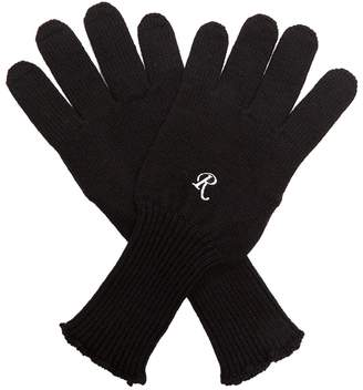 Raf Simons Embroidered wool-knit gloves