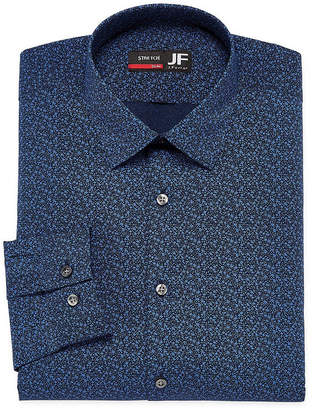 Jf J.Ferrar Easy Care Stretch Long Sleeve Broadcloth Dots Dress Shirt - Slim