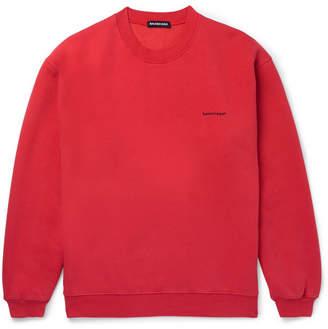 Balenciaga Oversized Logo-Print Fleece-Back Cotton-Blend Jersey Sweatshirt