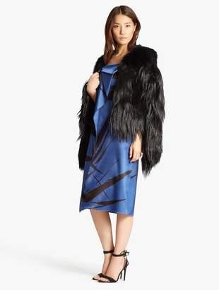 Halston Fur Blocked Coat