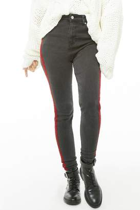 Forever 21 High-Rise Striped-Trim Jeans