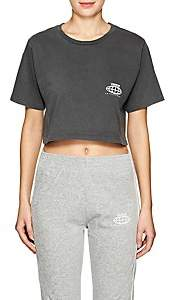 Visitor On Earth Women's Logo Cotton Crop T-Shirt - Gray
