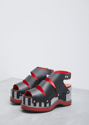 Proenza Schouler black / red / white stripe platform wedge $1,095 thestylecure.com