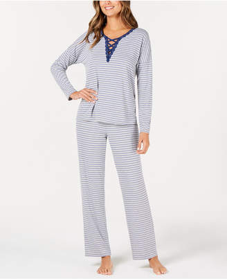 Alfani Printed Lace-Up Pajama Set, Created for Macy's