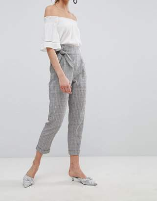 at ASOS MANGO Tie Front Cropped Check Trousers