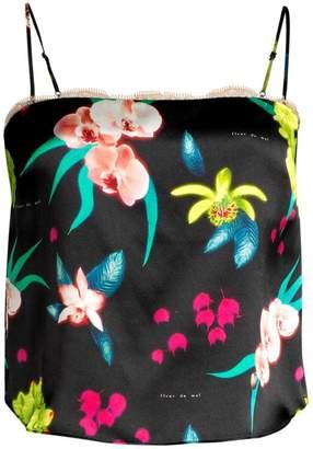 Fleur Du Mal Floral Lace-Trim Silk-Blend Camisole