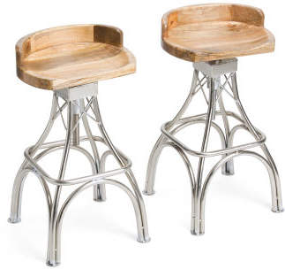 Set Of 2 Wood And Metal Barstools