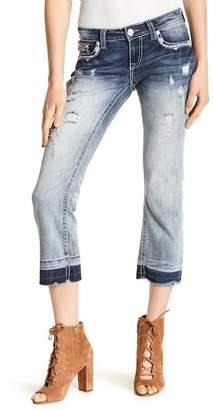 Grace In LA Denim Distressed Straight Leg Cutoff Hem Capri Jeans