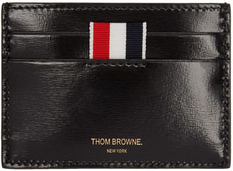 Thom Browne Black Patent Leather Card Holder $360 thestylecure.com