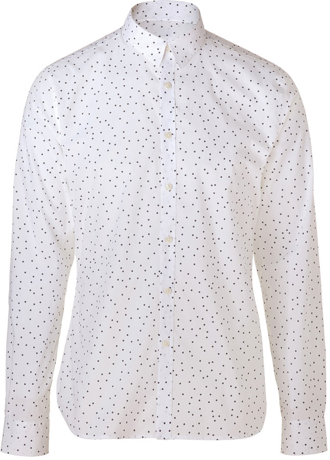 Paul Smith White/Black Circle Print Cotton Slim Shirt