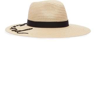 Eugenia Kim 'Emmanuelle' cord slogan straw fedora hat
