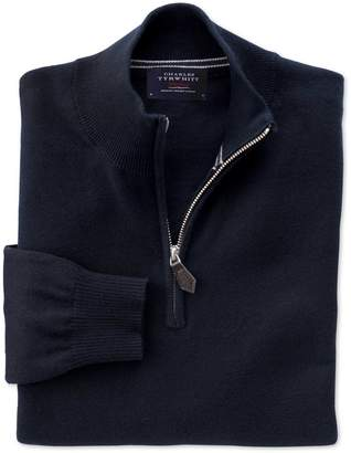 Charles Tyrwhitt Navy Cotton Cashmere Zip Neck Jumper Size XXL