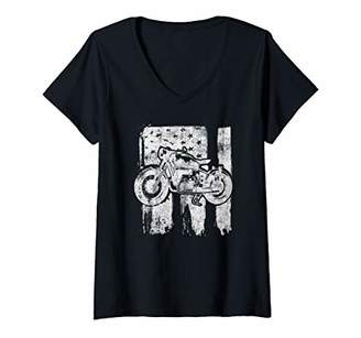 Womens Vintage American Motorcycle USA Flag Cool bike USA 4th Gifts V-Neck T-Shirt