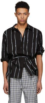 3.1 Phillip Lim Black Oversized Painted Stripes Painters Shirt