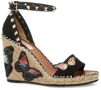 Valentino Rockstud Double Butterfly Wedge Sandals