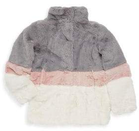 C&C California Little Girl's Colorblock Faux Fur Jacket