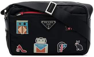 Prada Black Badge Appliqué Leather Crossbody Bag