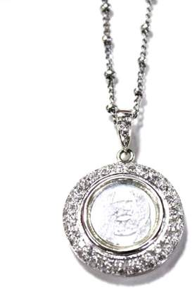 14K White Gold and Diamond Spinning Pendant Necklace