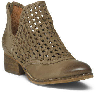 Leather Cut Out Weave Booties