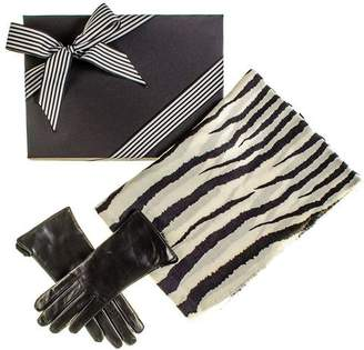 Black Zebra Print Scarf and Rabbit Fur Lined Leather Gloves Gift Set