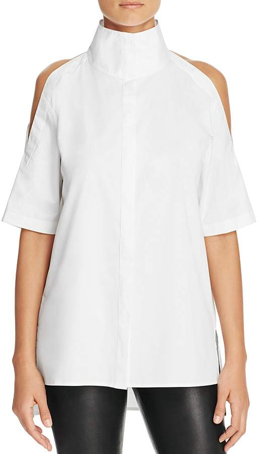 DKNY DKNY Funnel Neck Cold Shoulder Shirt - 100% Exclusive