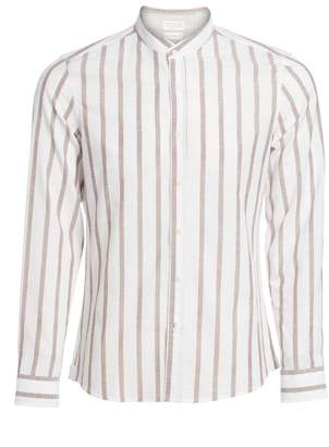 Brunello Cucinelli Mandarin Collar Striped Sport Shirt