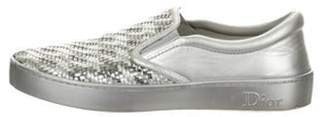 Christian Dior Leather Slip-On Sneakers Metallic Leather Slip-On Sneakers