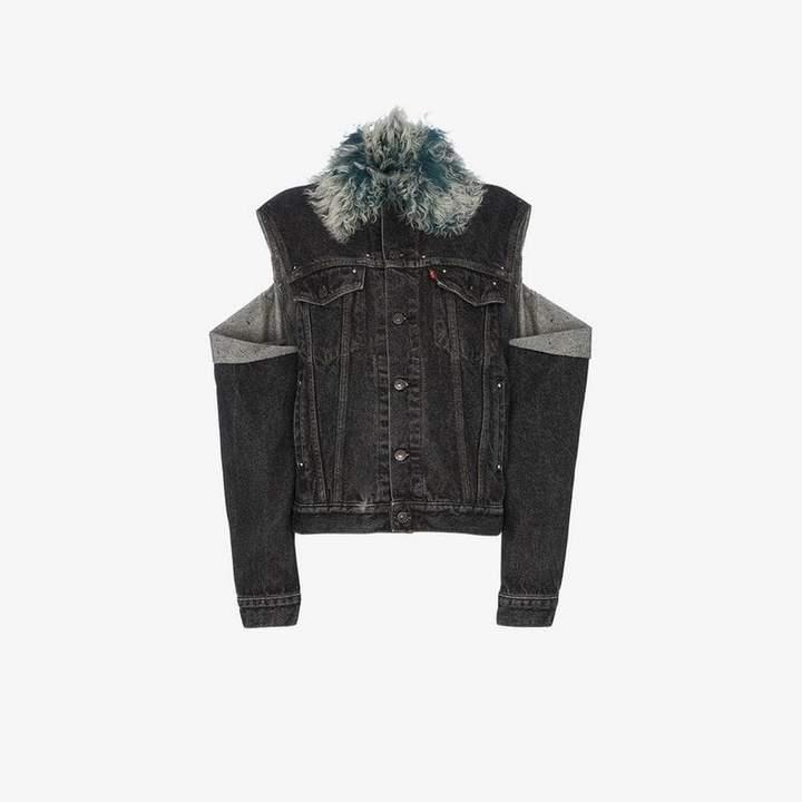Beau Souci shearling collar cut out denim jacket