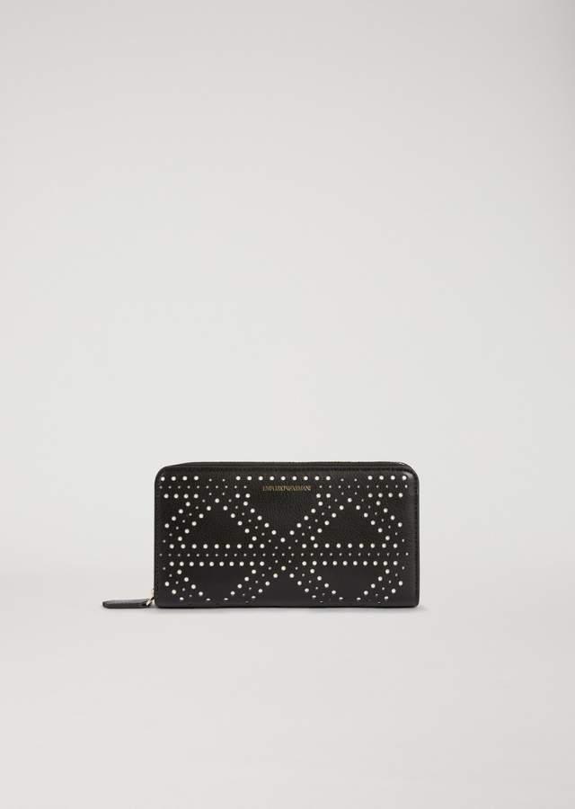 EMPORIO ARMANI zip around faux leather wallet