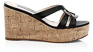 Stuart Weitzman Women's Cadence Leather Platform Wedge Sandals