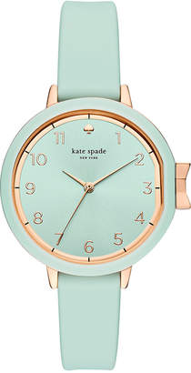 kate spade new york Women's Park Row Cirrus Blue Silicone Strap Watch 34mm KSW1314 $150 thestylecure.com
