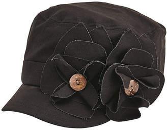 San Diego Hat Company Womens Cadet Cap with 2 Raw Edge Flowers