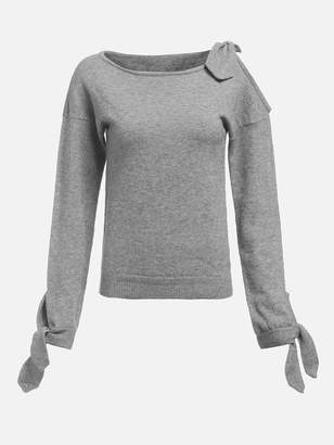 a2c9466fea Shein Knot Detail Open Shoulder Heather Grey Sweater