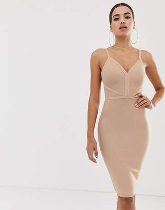 The Girlcode bandage midi dress in taupe