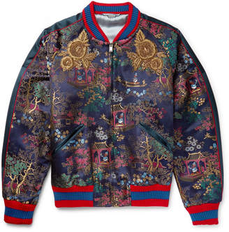 Gucci Embroidered Jacquard Bomber Jacket $4,355 thestylecure.com