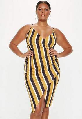 Missguided Plus Size Mustard Stripe Strappy Ruched Dress