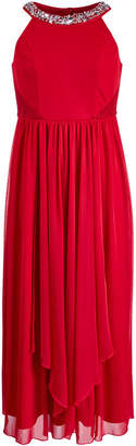Sequin Hearts Embellished-Neck Maxi Dress, Big Girls