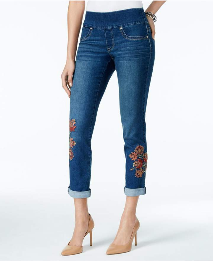 Style&Co. Style & Co Floral-Embroidered Pull-On Boyfriend Jeans, Created for Macy's