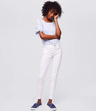 LOFT Modern Double Frayed Skinny Ankle Jeans in White