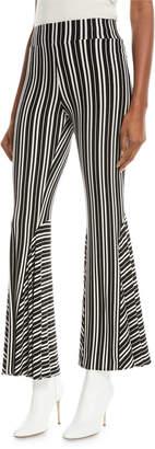 Beaufille Lamos High-Waist Striped Rib-Knit Flared Pants