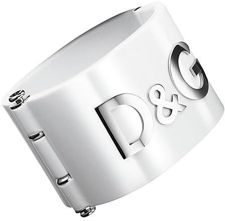 D&G Dolce & Gabbana Locked Logo Cuff Bracelet, White
