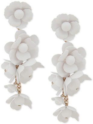 DKNY Gold-Tone White Floral Linear Earrings