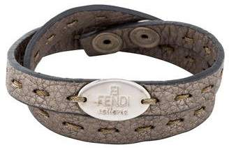 Fendi Selleria Leather Wrap Bracelet