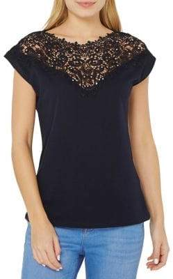 Dorothy Perkins Embellished Lace-Yoke Tee