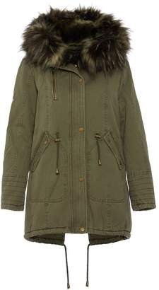 Quiz Khaki Faux Fur Lined Embroidered Parka Jacket